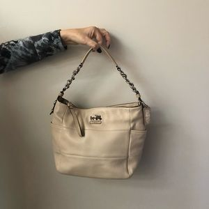 Coach, cream colored, soft leather shoulder bag.